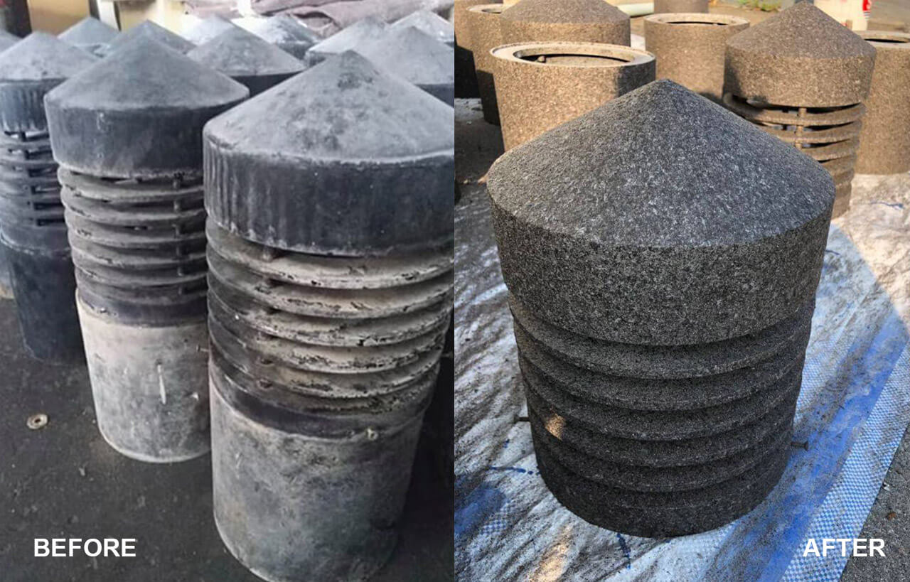 Obsolete black lamp stained with gray water marks and sand, covered with ADDSTONE AN texture stone coating, renew the appearance of granite-like surface.